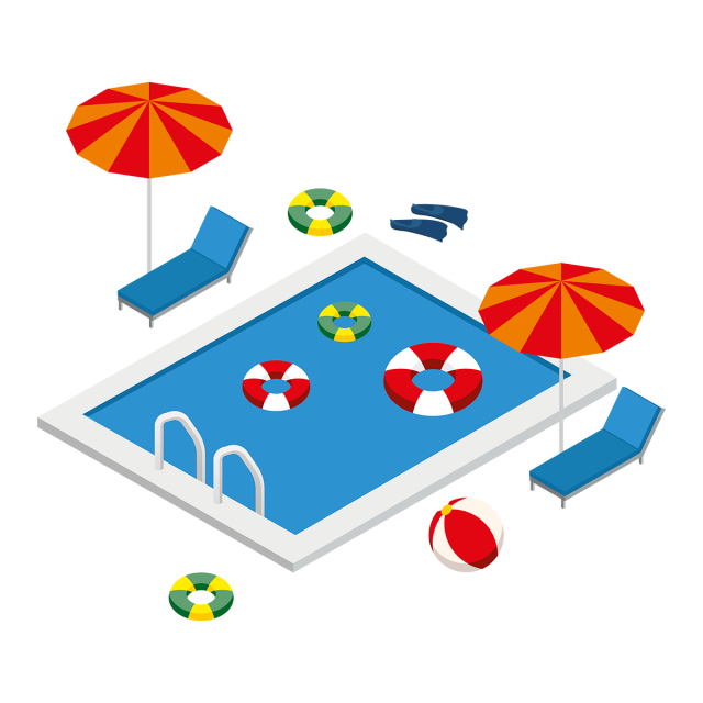 isometric swimming pool with summer elements isometric #26661