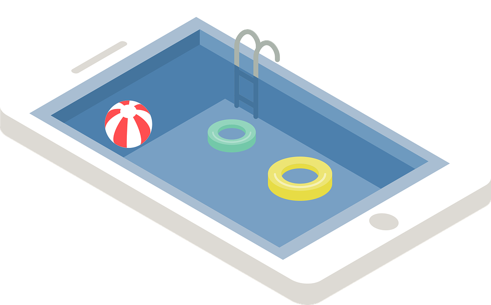 smartphone swimming pool relax vector graphic #26654