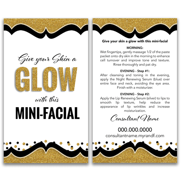 mini facial glow card, gold, black, white rodan and fields png logo #5655