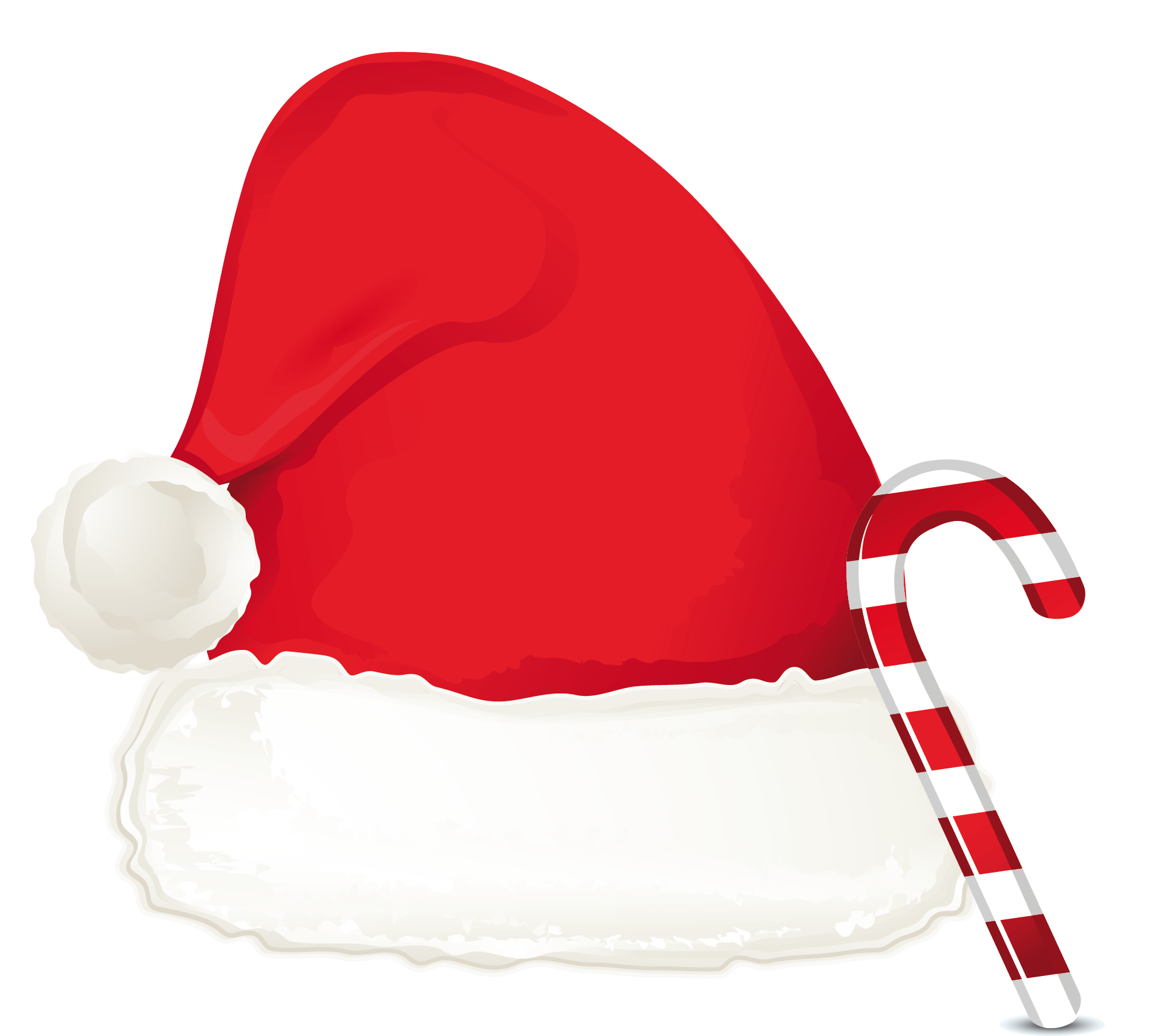 christmas candy cane ornament and santa hat png clipart #17366