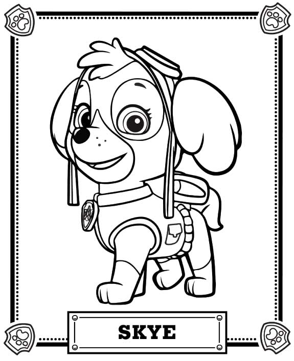 skye paw patrol images colouring pages #2631