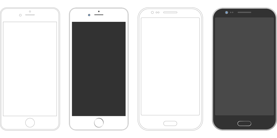 smartphone, iphone android stencil vector graphic #12102