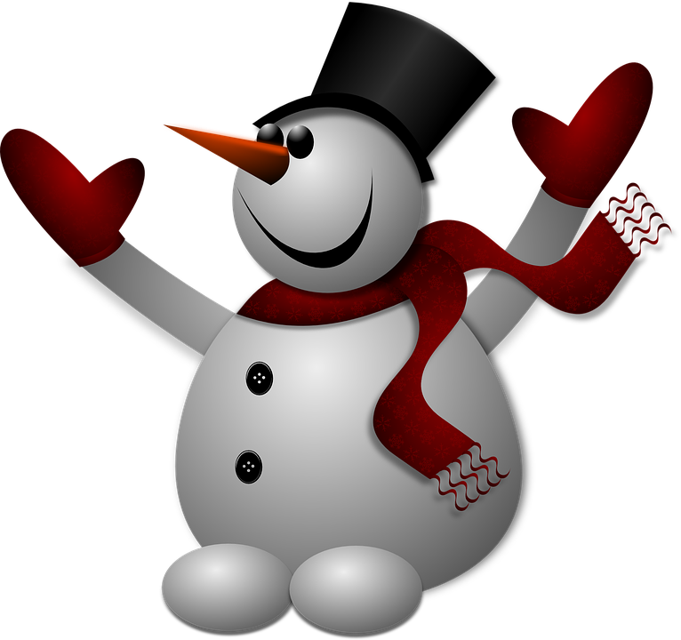 vector graphic snowman winter cold hat gloves #23935