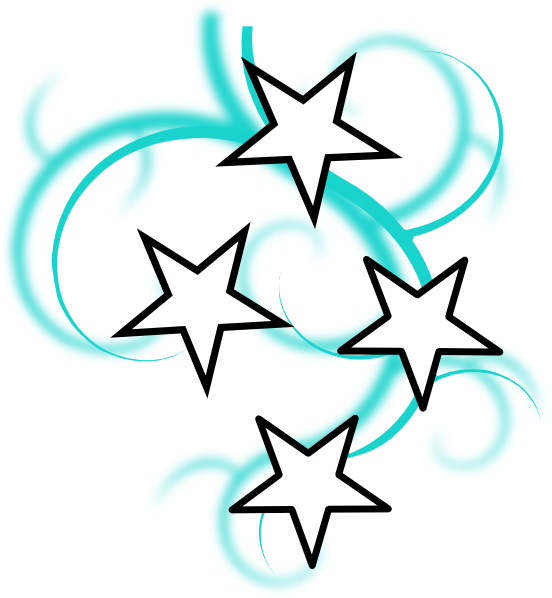 teal white tattoo with stars clip #8697