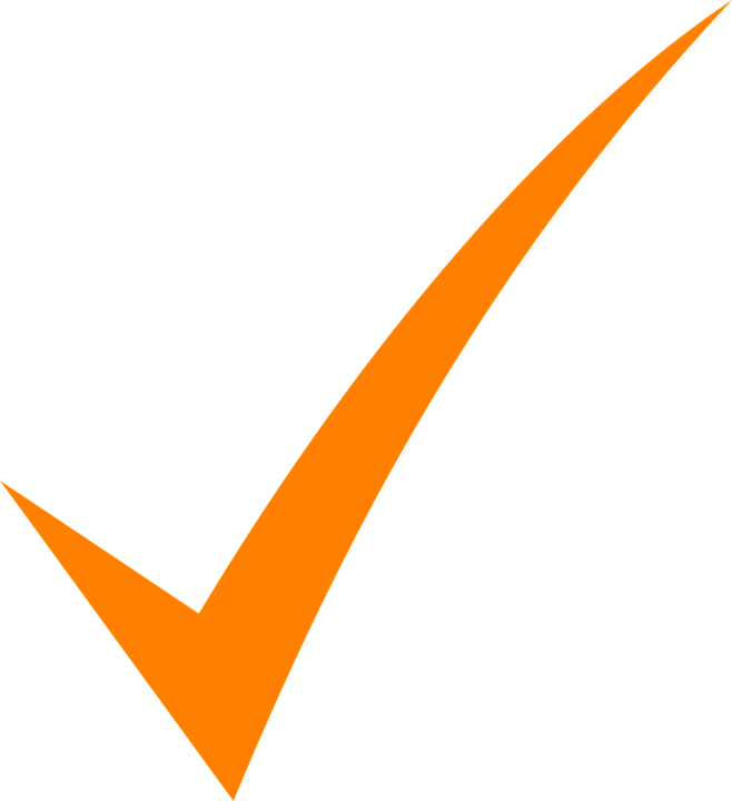 tick check mark orange vector graphic #33858