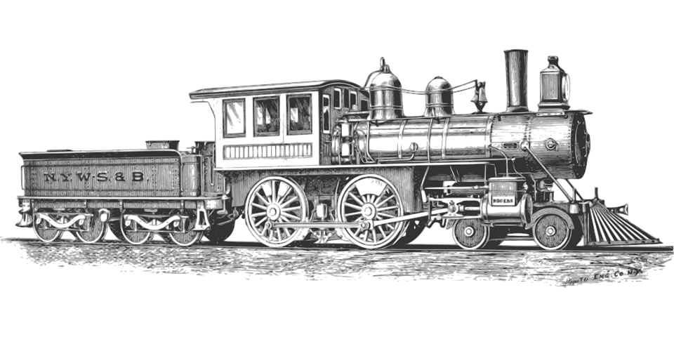 train, locomotive monochrome railroad vector graphic #16208