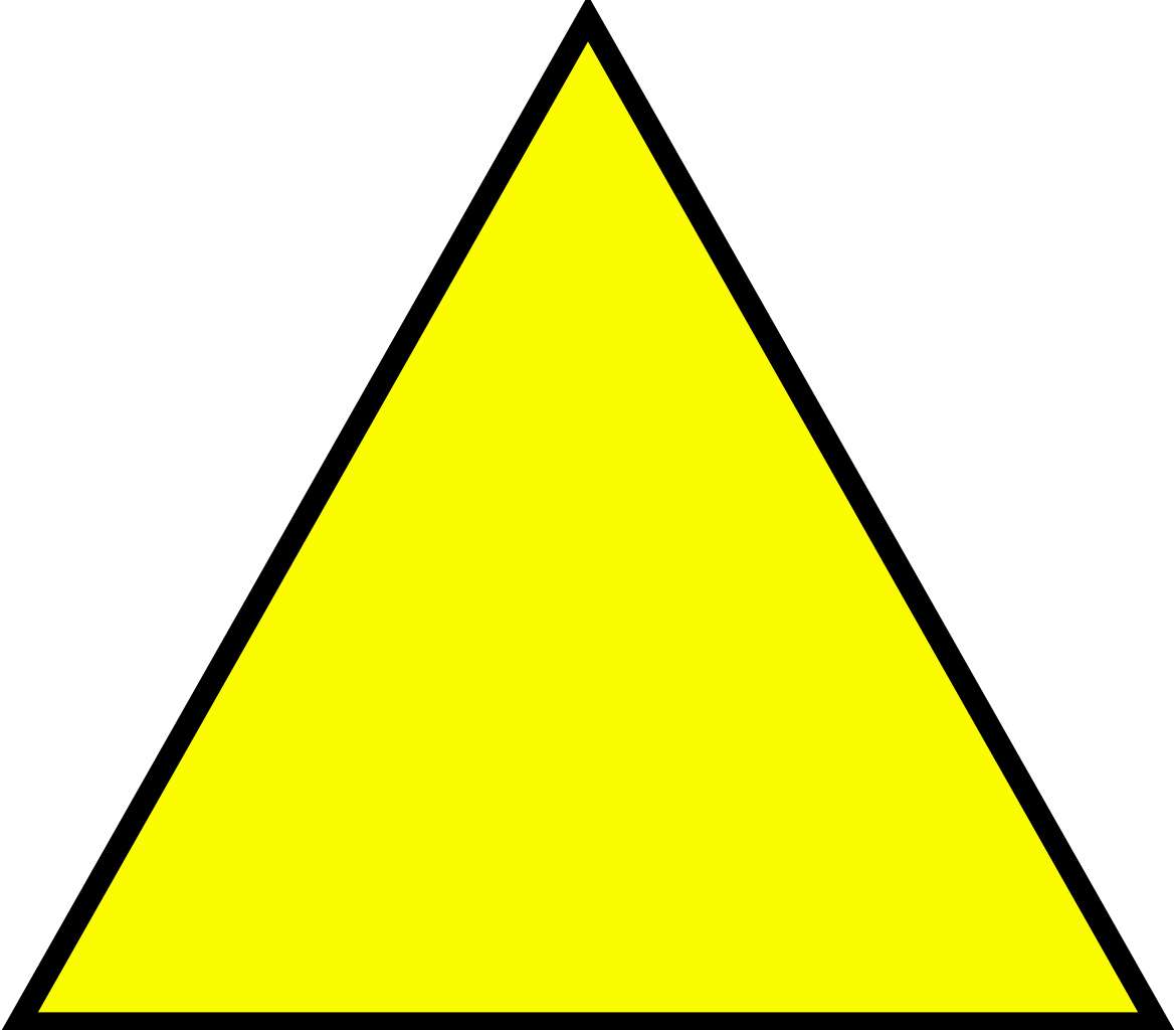 simple yellow triangle with black outline png #41344