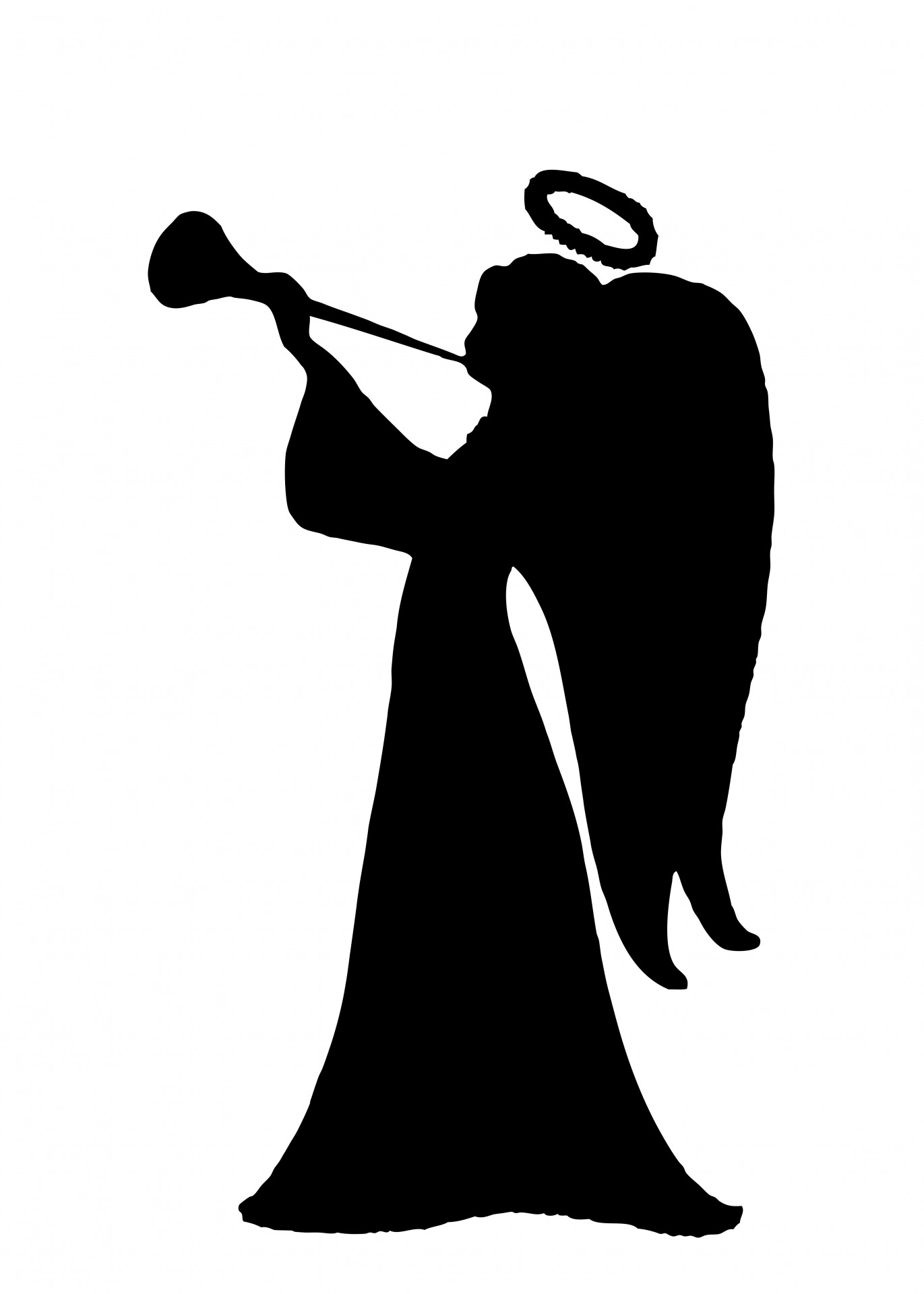 trumpet clipart, angel silhouette clipart photo domain #31919