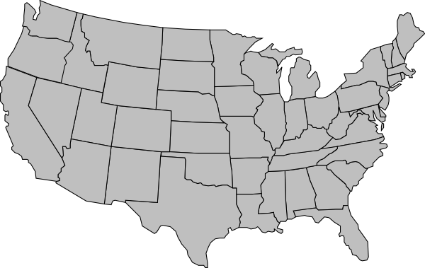 usa map united states america map outline gray clip art #36661