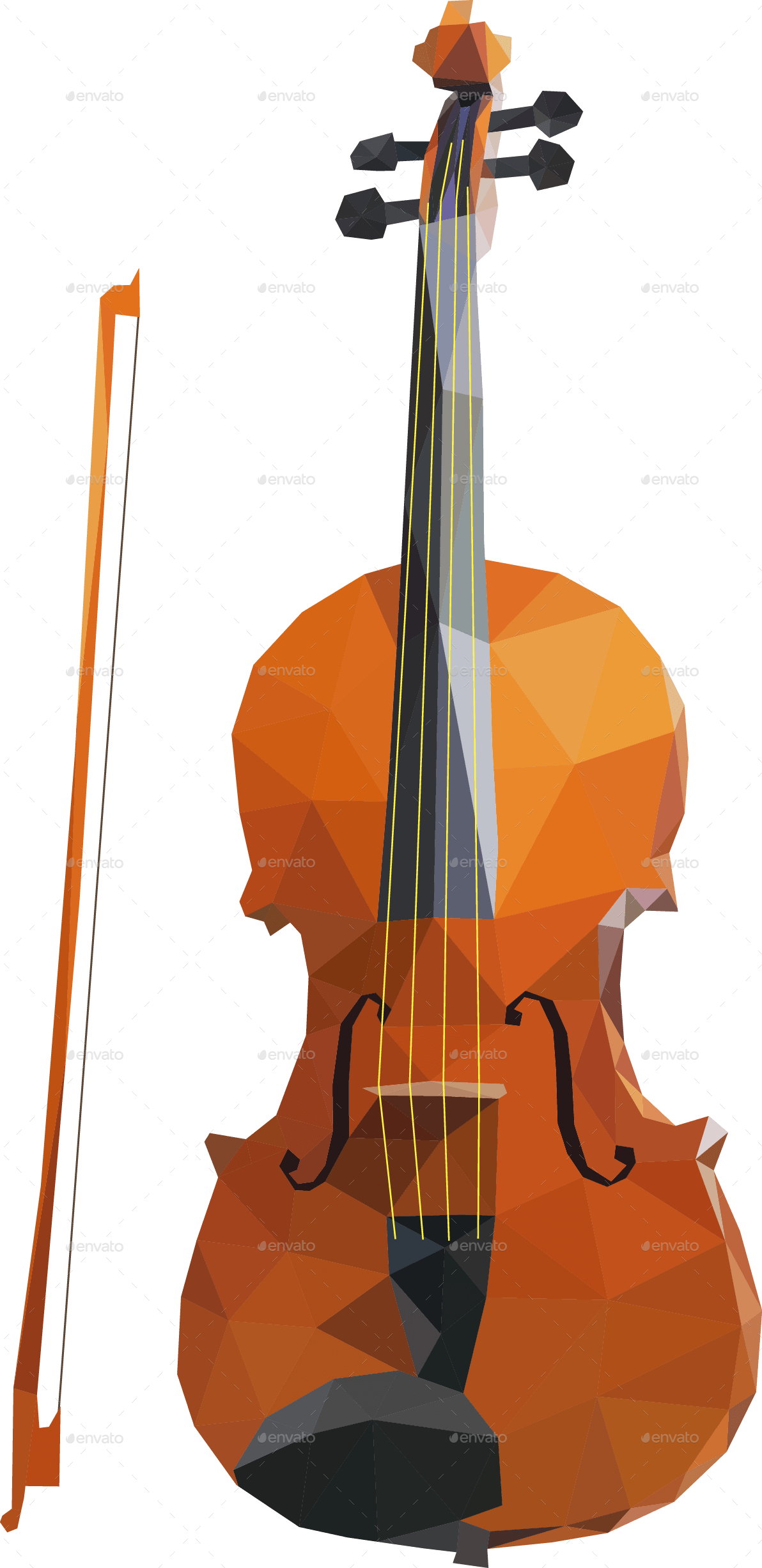 violin, music instruments low poly art kiti profile graphicriver #29912