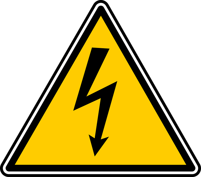 warning sign volts amps and other electric #39194