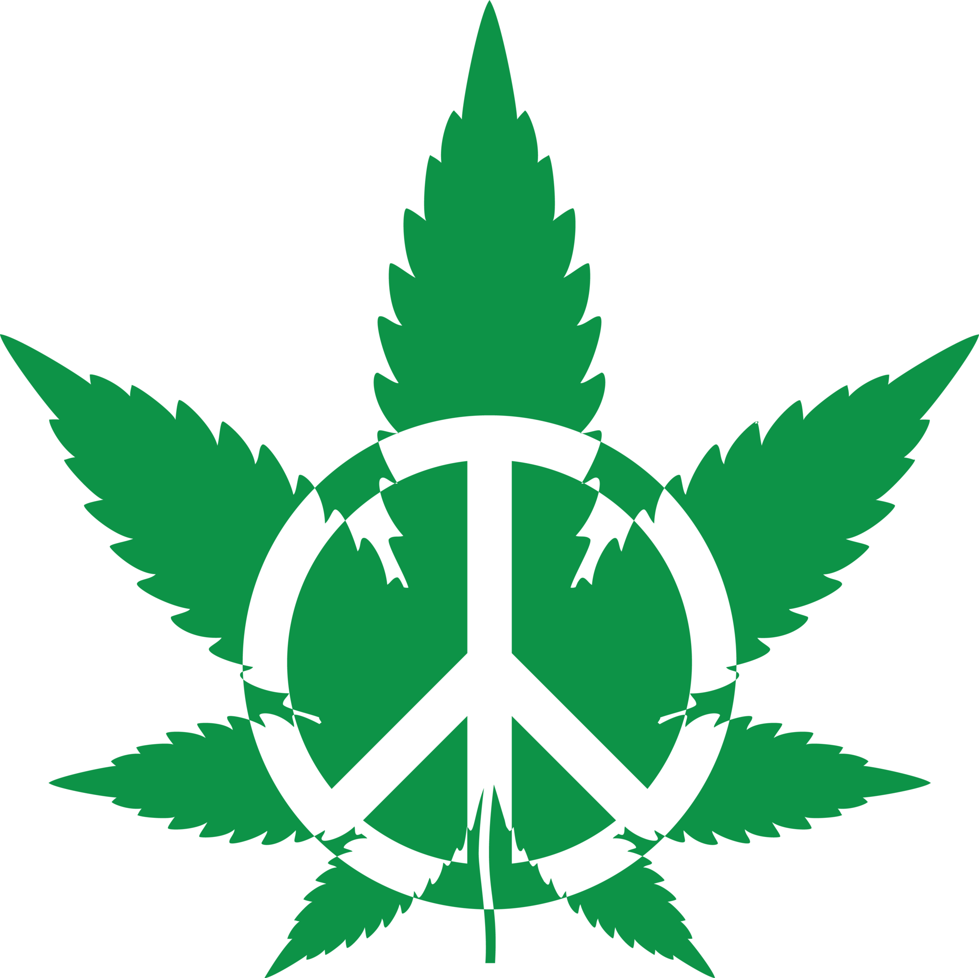 weed leaf, green pot leaf with peace symbol png #18572