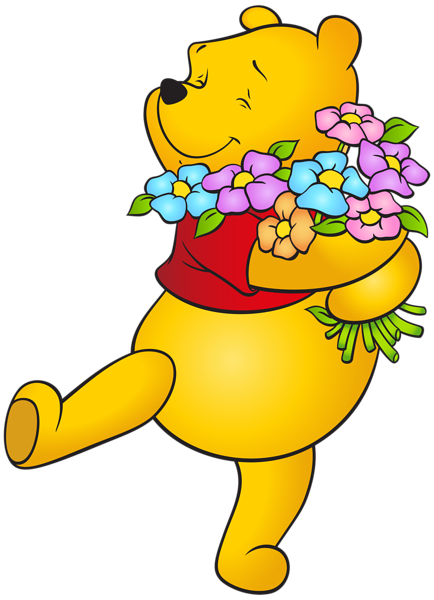 winnie the pooh with flowers png clip art image #17489