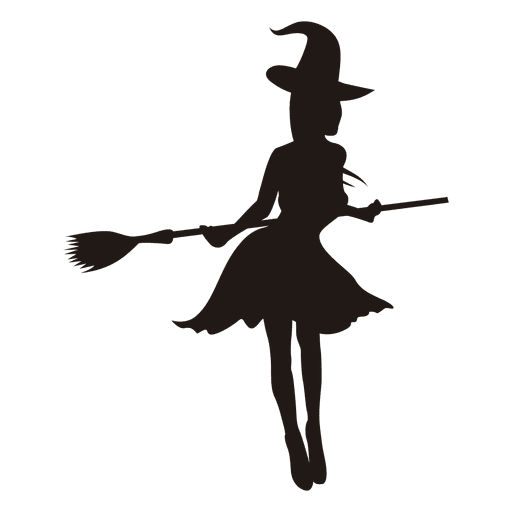 witch girl silhouette with broom transparent png svg #36340